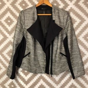 Lane Bryant Black Silver Metallic Tweed Blazer